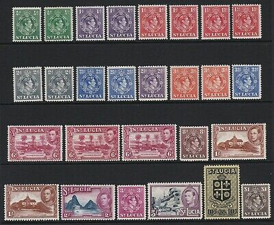 St Lucia 1938-48 complete set of 27 all perfs / 6d shade - mint hinged £150