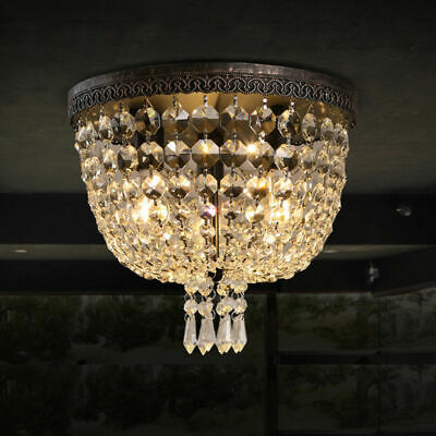 Vintage Round Canopy Clear Crystal Flushmount Small Ceiling Light Fixture Bronze