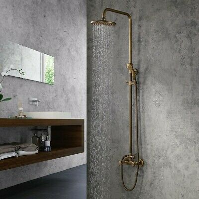 Classic Antique Brass 2-Handle Wall-Mount Bath Rain Shower System & Handshower