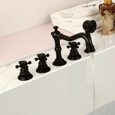 Classic Antique Black Triple Cross Handle Tub Faucet Hand Shower Roman Bath Tap