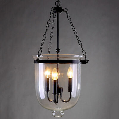 Clear Glass Bell Shade 3 Lights Vintage Pendant Light Black