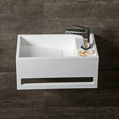 Modern Rectangle Wall-Hung Stone Resin Bathroom Sink with Towel Bar Glossy White