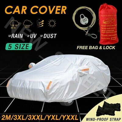 5 Size Full Car Cover 3x Layers Aluminum Waterproof Rain UV Resistant Protect