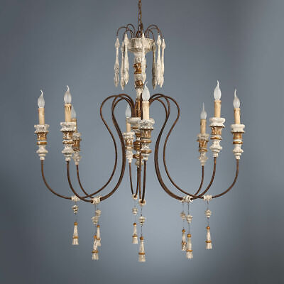 Candelabra Style 8-Light Distressed Wood Foyer Chandelier Curving Metal in Rust