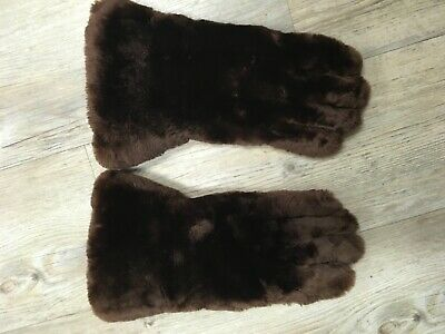 Vintage faux fur and leather ladies winter gloves size small