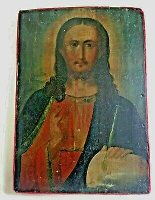 RUSSIAN ICON ANTIQUE Orthodox JESUS CHRIST SAVIOR 1800-1900 Wooden ORIGINAL ICON