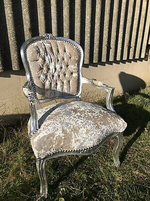 French Louis style Shabby Chic Champagne Crushed Velvet Chair / silver frame