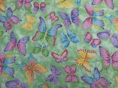 Lime Green FQ Fat Quarter Fabric Lilac Glitter Butterflies 100% Cotton Quilting
