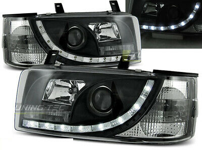 NUOVO! Fanali Anteriori LED DRL Look VW T4 1990-2003 TRANSPORTER Daylight Neri S
