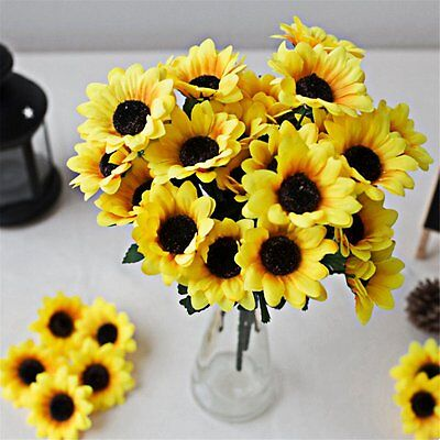 Seven Heads Beauty Fake Sunflower Artificial Silk Flower Bouquet Yellow E7