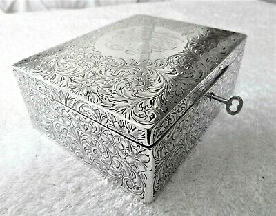 Big 2 Tier Antique Sterling Silver Jewelry Box Trinket Dresser Chased Engraved
