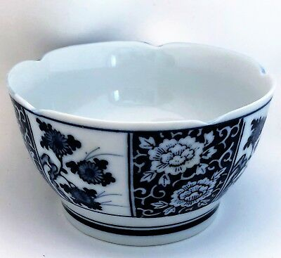 Soup Rice Bowl Footed Cobalt Blue White Floral Scalloped Edge 5-1/2 Inches Japan