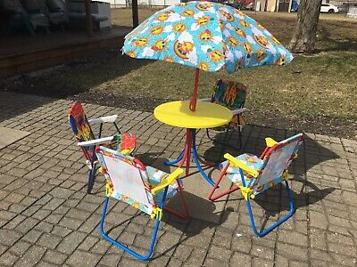 Amazing Kids Patio Set Table Chairs Umbrella Kids Furniture Outdoors Machost Co Dining Chair Design Ideas Machostcouk