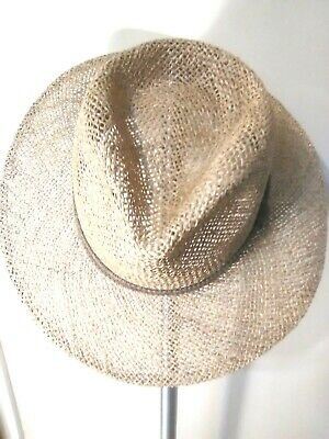 3eb3c76d32e03 Country Gentleman Men s Straw Hat Fedora Natural Medium. Gray and Tan  Headband