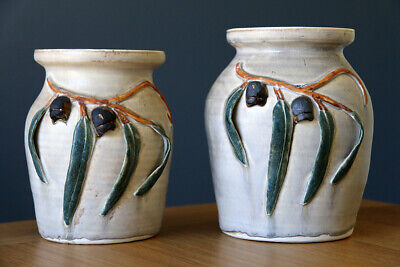 Two Large Hand Made Vases, Applied Gumnuts Gum Leaves, Australian Pottery