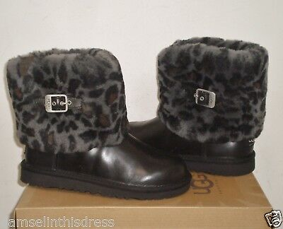 UGG Australia ELLEE ANIMAL Boots BLACK Leather YOUTH 5US NWB Fits Women 6.5US