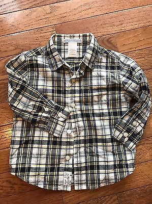 LN EUC JANIE & JACK 12 18 m mos Boy button down plaid dress shirt navy