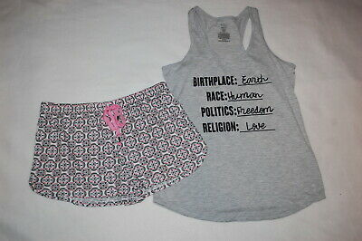 Womens Knit Pajama Set GRAY TANK TOP Race Religion MANDALA SHORTS Pink M 8-10