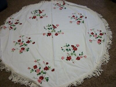 "Vintage Roses Round Fringed Heavy Cloth Tablecloth 54"" & 3.5"" Fringe/ No tags"