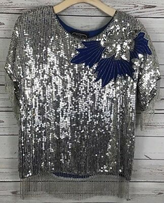 Jean for Joseph Le Bon Vintage Sequin Beaded Top Blouse Size M Silver Blue SILK