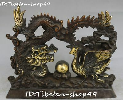Old China Bronze Gilt Dragon Phoenix Bird Feng Shui Guardian Screen Statue