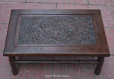 55cm China Rosewood Wood Dynasty Palace Dragon Loong Play Bead Desk Table Statue