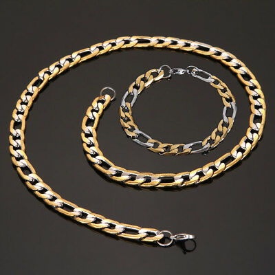 Men's Chain Gold Tone Stainless Steel Curb Cuban Link Necklace Bracelet Jewelry