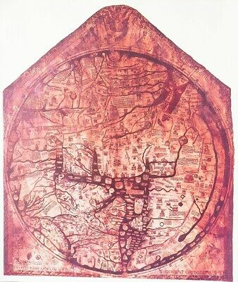 Vintage Map Print For Framing Of The Antique 1300   Hereford Mappa Mundi Map