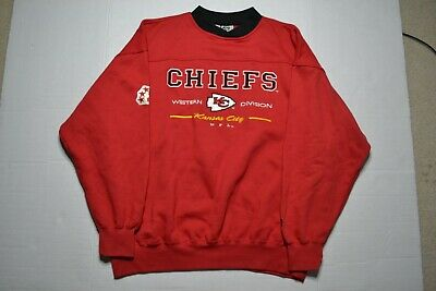 finest selection 0cd44 12e5f VINTAGE KANSAS CITY Chiefs Sweatshirt Red Pullover Crew Neck by Lee Mens XL