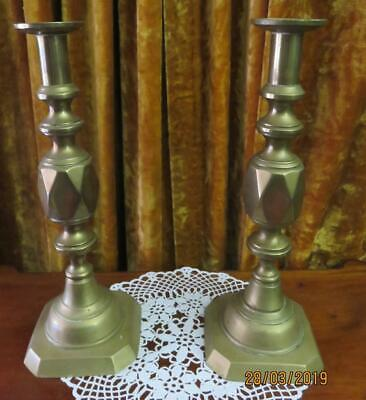 "Pair of Victorian Brass "" Ace of Diamonds "" Candlesticks"