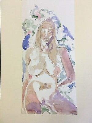 Buxom Nude.Modern Colourful Original Painting.Naked Blonde Woman.Proud & Relaxed