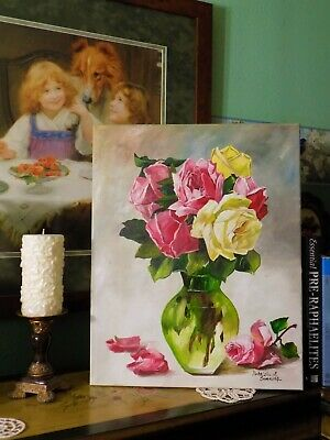Vintage Inspired Still Life with Cabbage/Cottage Pink Roses in Vase ~ Shabby