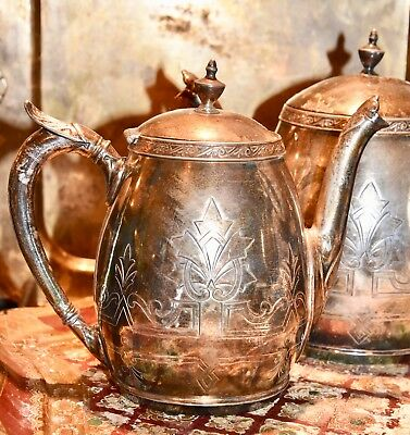 Antique Victorian Aesthetic Teapot Water Pitcher Set Springfeild Silverplate Co.