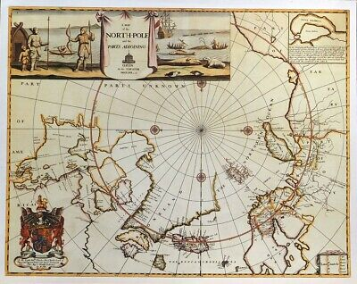Vintage Print For Framing Of An Antique 1680 Map Of The North Pole And Area