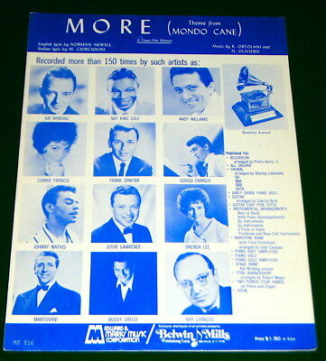 MORE (Theme from Mondo Cane) 1963 Sheet Music, Vocal, Piano, Chords V. G. COND'n