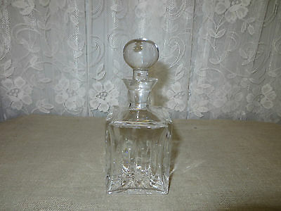 Crystal Square Purfume Bottle Decanter  W/ Stopper Top *Mint* No Mark