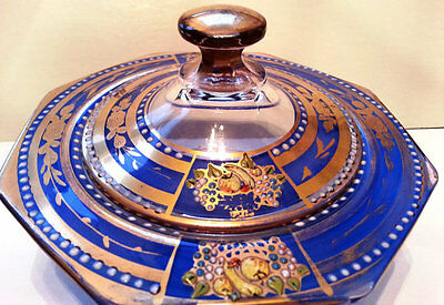 Glass Candy Bowl & Lid, Blue Enameled Fruit, Powder Jar, Hand Decorated