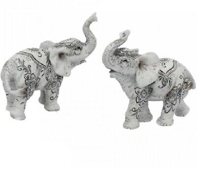 Henna Harmony (Set of 2) 9.5cm White ELEPHANTS Figurine Ornament Gift Art Deco