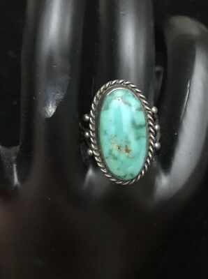 Vtg Old Pawn Sterling Silver 925 Green Royston Turquoise Ring Stunning