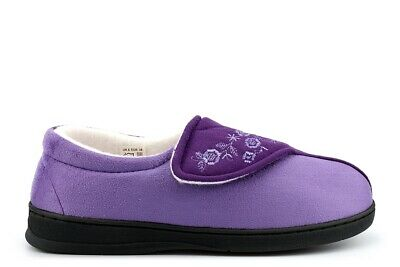 Womens Wide Fit Slippers Ladies Wide Fit Slippers Velcro Memory Foam (E Fitting)