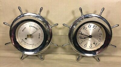 Seth Thomas Helmsman Ships Clock (E537-001) & Barometer Set Running & Striking