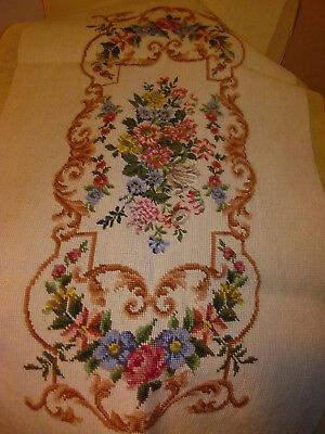 Woollen Needlepoint Floral Flowers Cover Needlework Tapestry Canvas