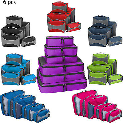 4pcs/6pcs Clothes Storage Bags Nylon Packing Cube Travel Luggage Organizer Pouch
