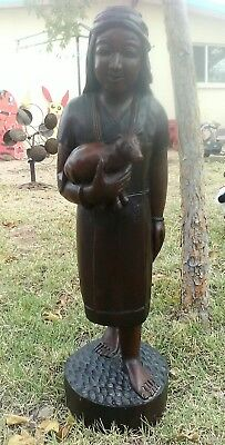 "Antique~Chinese~Hand Carved~ Statue of a Woman Carrying a Bear~ 2 ft 8"" Tall"