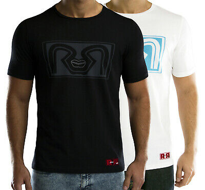 3f3a1a733b61 Mens Retro Red T-shirt in Black or White Crew Neck Printed Logo Embroidered  Tee