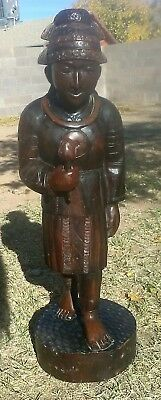 "Antique Chinese Hand Carved Wooden Figural Man ~ Statue ~ 2 ft. 9"" Tall"