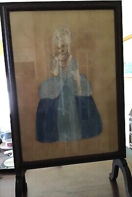 "Antique Fire Screen With Crinoline Lady. 32"" X 19"""