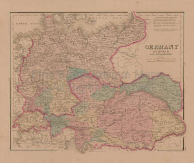Germany Austria France Antique Map Gray 1876 Original Austro Hungarian Gift Idea