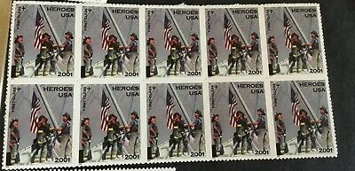US Postage Stamps 34c Block Of 10 America Responds 911 Heroes USA 2001 MNH B2
