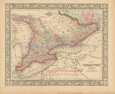 Canada West Ontario Antique Map Mitchell 1866 Authentic Canadian Decor Gift Idea